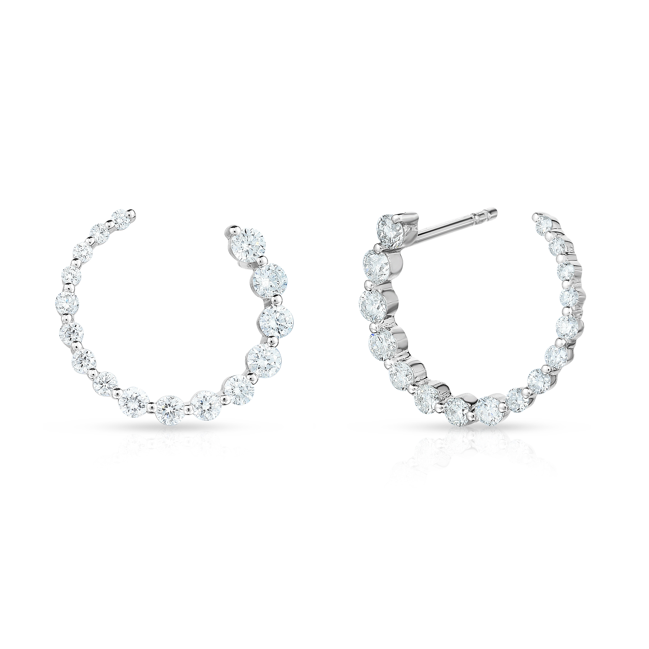 Graduated Diamond Single Prong Hoops